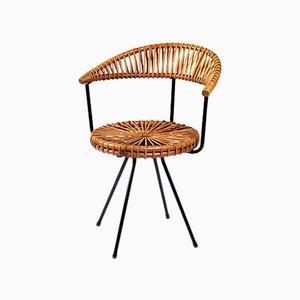 Dutch Rattan & Metal Chair by Dirk van Sliedregt for Gebroeders Jonkers Noordwolde, 1960s