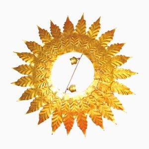 Mid-Century Wandleuchte mit Rahmen aus Gusseisen in Sonnen-Optik