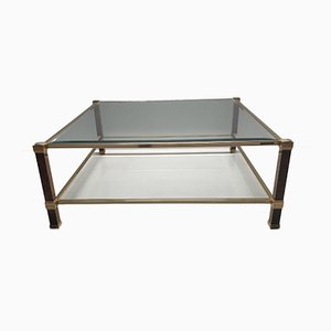 Square Gilt Two-Tier Coffee Table by Pierre Vandel, 1980s