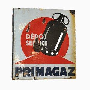 Placa de Primagaz de doble cara esmaltada, años 60
