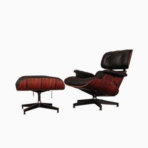 Vintage Sessel & Fußhocker mit Gestell aus Palisander von Charles & Ray Eames für Herman Miller, 1970er