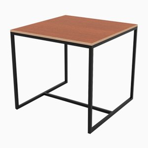 Small Cherry Veneered Laminated Wood Underline Series Dining Table on Steel Base from CRP.XPN
