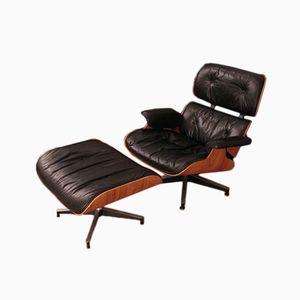 Vintage Sessel & Fußhocker mit Gestell aus Palisander von Charles & Ray Eames für Herman Miller