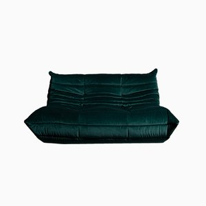 Dark Green Togo Velvet Lounge Chair by Michel Ducaroy for Ligne Roset, 1980s