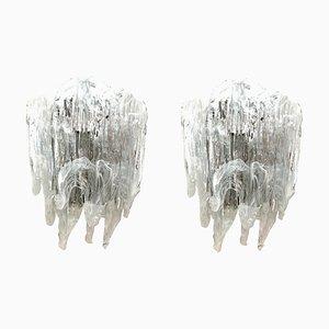 Apliques de cristal de Murano de Mazzega, años 70. Juego de 2