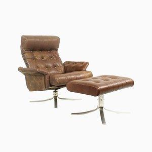 Danish Leather Swivel Lounge Chair & Ottoman by Ebbe Gehl & Søren Nissen for Jeki Møbler, 1970s