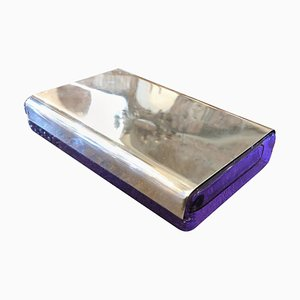 Silver and Crystal Biglia Cigarette Box by Joe Colombo for Arnolfo Di Cambio, 1968