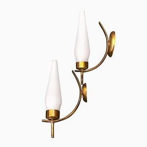Mid-Century Italian Modern Brass and Glass Wall Sconce from Stilnovo, 1950s