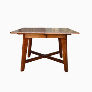 French Art Nouveau Oak Farm Table by Mathieu Gallerey, 1920s