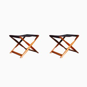 Model Propeller Folding Stools by Kaare Klint for Rud. Rasmussen, 1930s, Set of 2