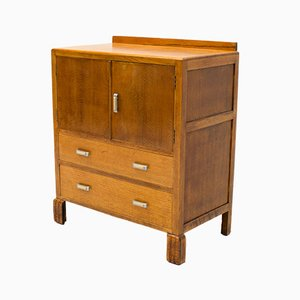 Art Deco Oak Tallboy Cabinet, 1930s