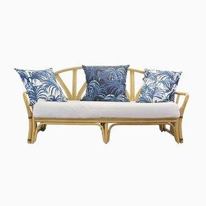 Mid-Century Sofa mit Gestell aus Rattan & Kissen mit Bezügen von House of Hackney