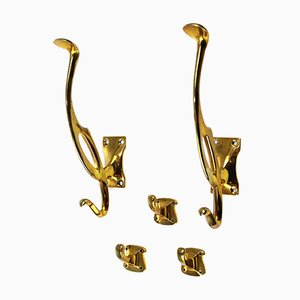 Art Nouveau Brass Coat Hooks, 1900s, Set of 5