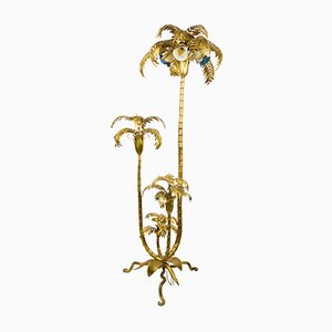 Tall Italian Gold Palm Tree Lamp with Glass Shades & Shelf, 1950s