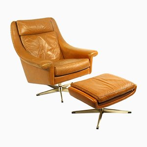 Matador Leather Swivel Chair & Ottoman by Aage Christiansen for Erhardsen & Andersen, 1960s