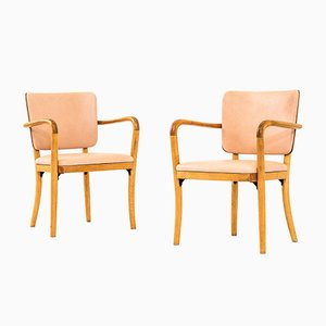 Birch & Aniline Leather Armchairs by Werner West for Wilhelm Schaumann Oy, 1940s, Set of 2