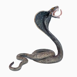 Antique Cold-Painted Bronze Cobra by Franz Xavier Bergman