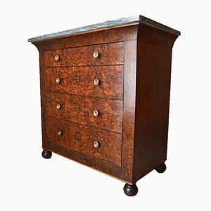 French Restauration Charles X Cedar Burl Chest of Drawers, 1830s