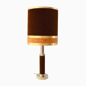 Velvet, Cork, & Brass Table Lamp, 1970s