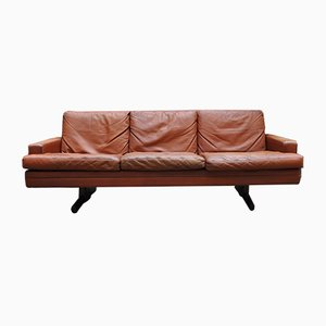 Model 807 Leather & Rosewood 3-Seater Sofa by Fredrik A. Kayser for Vatne Lenestolfabrikk, 1960s