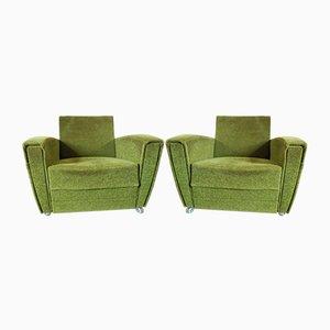 Vintage Sessel mit grünem Frottierstoffbezug, 1960er, 2er Set