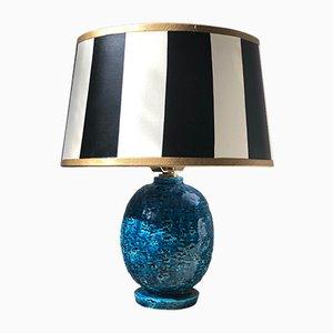 Blaue Tischlampe aus Schamotte von Gunnar Nylund für Rörstrand