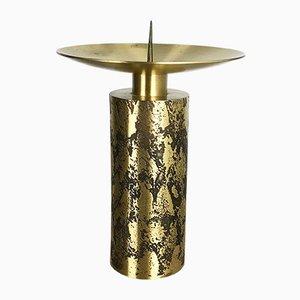 Large Vintage Brutalist Brass Candleholder, 1970s