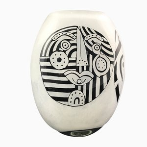 Black & White Blown Glass Abstract Face Vase by Ada Loumani, 2017