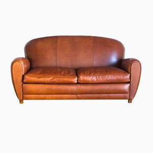 French Leather Club Sofa, 1970s
