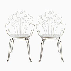 Gartenstühle aus gebogenem Eisen, 1980er, 2er Set