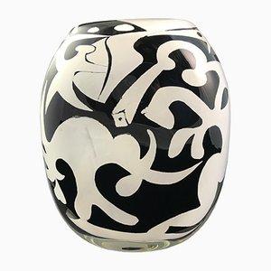 Vase en Verre Soufflé Noir et Blanc par Ada Loumani, 2017