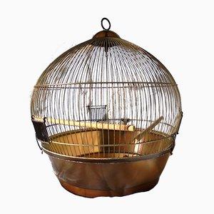 Jaula para pájaros de latón y plexiglás, años 70