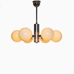 Lámpara de araña con esferas de vidrio lechoso y base de cromo, años 30