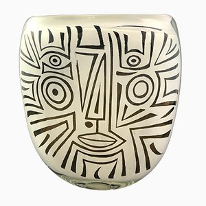 Schwarz-weiße Vase aus geblasenem Glas von Ada Loumani, 2017