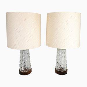 Lámparas de mesa Mid-Century de teca y vidrio de Orrefors, años 60. Juego de 2