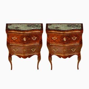 Comò siciliani in marmo, ottone e legno di palissandro intarsiato, anni '20, set di 2