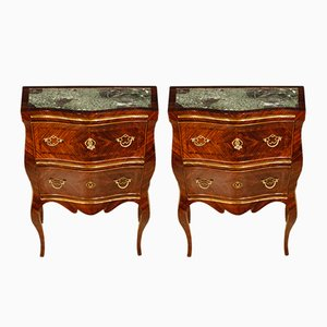 Sicilian Inlaid Rosewood, Marble & Brass Nightstands, 1920s, Set of 2