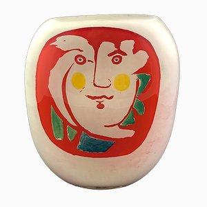 Rot-weiße Vase aus geblasenem Glas mit abstraktem Gesichts-Motiv von Ada Loumani, 2019