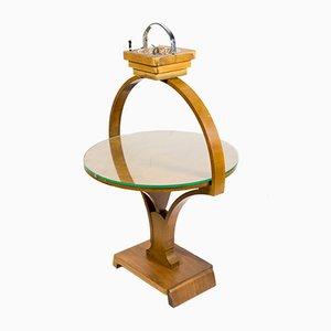 Table Pliante Art Déco Table avec Cendrier en Verre de Cristal Ciselé, 1930s