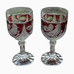 Art Deco Crystal Wine Glasses, 1940s, Set of 2