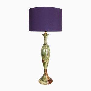 Lampe de Bureau Style Hollywood Regency Vintage en Marbre d'Onyx, 1960s