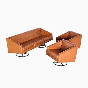 Juego de sofá y dos sillones vintage de cuero marrón vintage, años 70