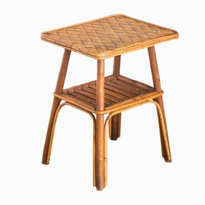 French Rattan & Chestnut Side Table, 1960s