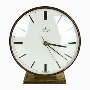 Vintage Modernist Brass Table Clock from Junghans, 1960s
