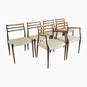 Sedie da pranzo in palissandro di Niels O. Möller per J.L. Möllers, anni '50, set di 6