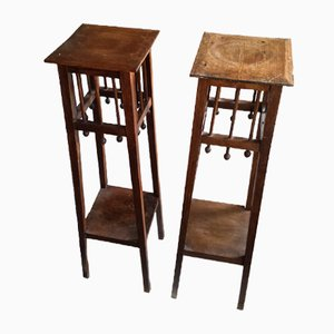 Antique Arts & Crafts Wooden Plant Stands, Set of 2