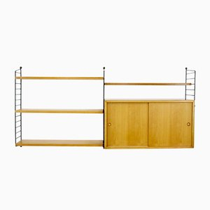 Vintage Ash Veneered Modular Shelving System by Katja & Nisse Strinning for String, 1960s