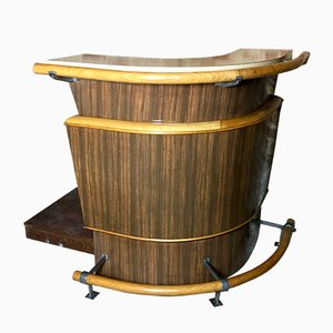 Bar vintage curvo de madera y formica, años 50