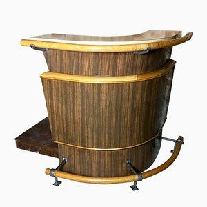 Mobile bar vintage in legno curvato e formica, anni '50