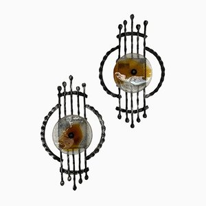 Apliques brutalistas de hierro y cristal de Murano de Tom Ahlstrom & Hans Helrich para A&E, años 70. Juego de 2